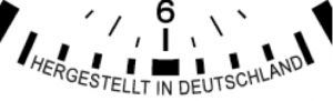 "Face inscribed with ""Hergestellt in Deutschland"" (""made in Germany"")."